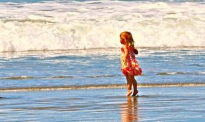 girl, ocean, waves, kid, child, daughter, beach, sea, water