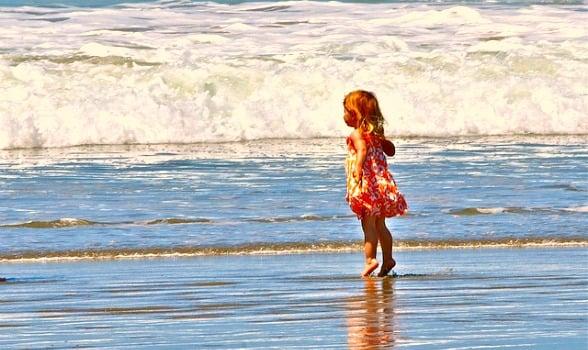 girl, ocean, waves, kid, child, daughter, beach, sea, water