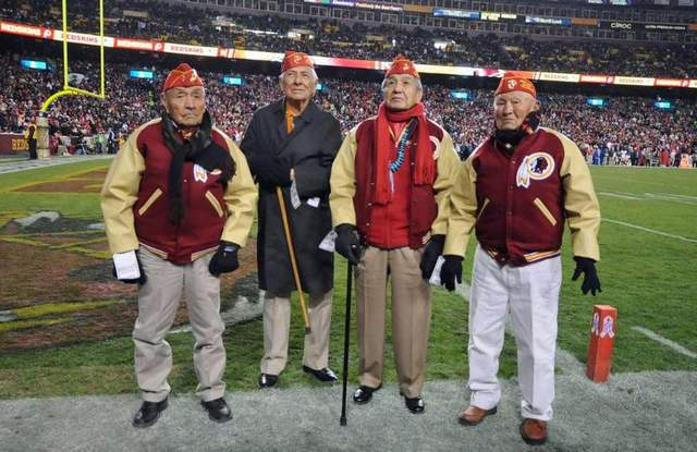 Navajo Code Talkers honored at Redsk*ns game November 2013 amidst calls to for the team to stop using an ethnic slur for name.