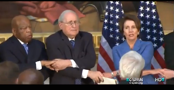 "GOP and Dem Leaders Hold Hands, Sing ""We Shall Overcome"""