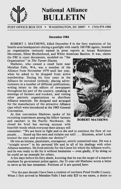 Dr. Pierce on Bob Mathews's death, December 1984