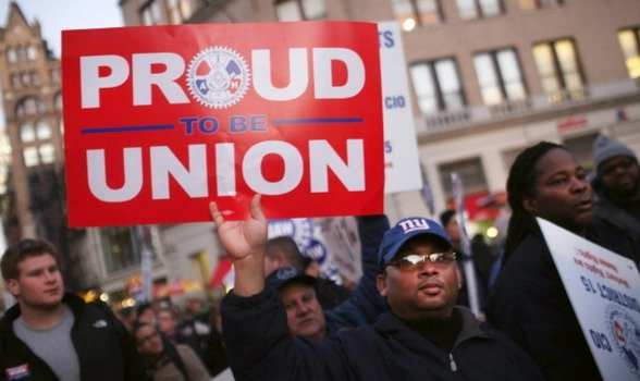 a labor union But unions now represent only 65 percent of private sector employees, down from the upper teens in the early 1980s, and most of the labor movement's strength these days is in the public sector.