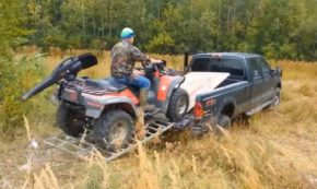 Foolhardy Dad Attempts to Load ATV onto Truck Bed