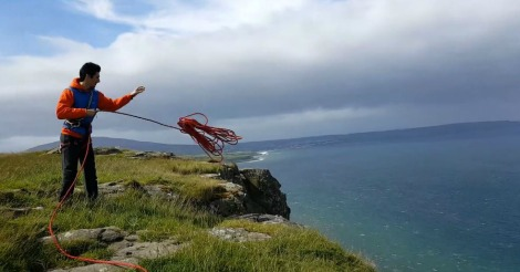Climber Tries To Throw Rope Down Cliff Nature Promptly