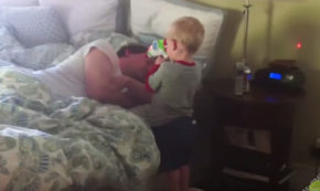 Cute Babies Wake Up Daddy