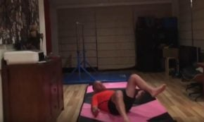 Dad Tries to Copy Gymnast Daughter's Moves
