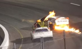 Dad Runs Onto Racetrack To Pull His Son From A Burning Car