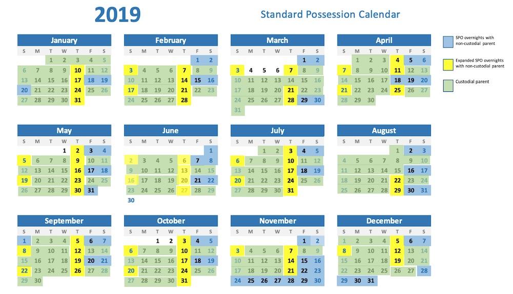 standard possession order calendar for 2019