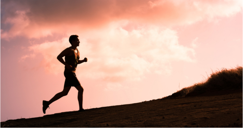 man running sunset silhouette